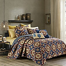 image of Elise Reversible Quilt Set in Navy/Red