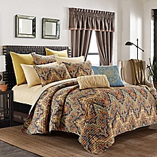 image of Elsewood Reversible Quilt Set in Orange/Blue