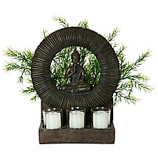 image of Bombay® Outdoor Buddha Planter and Tealights in Brown