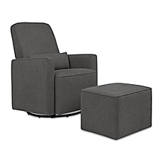 image of davinci olive glider and ottoman in dark grey - Glider Rockers