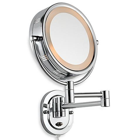 Jerdon 5x 1x Lighted Chrome Wall Mount Mirror Bed Bath