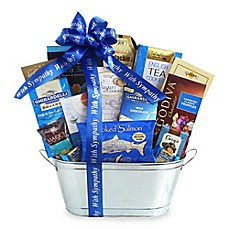 image of California Delicious Shimmering Silver Kosher Sympathy Gift Basket