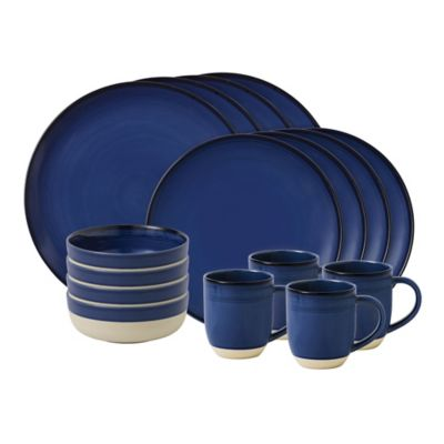 image of ED Ellen DeGeneres Crafted by Royal Doulton® Brushed Glaze 16-Piece Dinnerware Set in Dark Blue