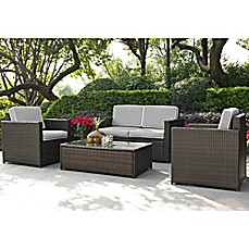 Image Of Crosley Palm Harbor 4 Piece Outdoor Wicker Conversation Set