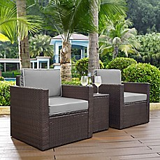 image of Crosley Palm Harbor 3-Piece Outdoor Wicker Seating Set