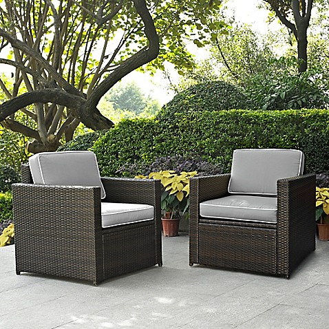 Buy Crosley Palm Harbor Wicker Arm Chairs In Grey Set Of 2 From Bed Bath Beyond