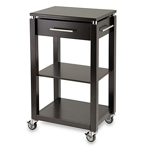 Linea Rolling Kitchen Cart With Chrome Accents Bed Bath Beyond