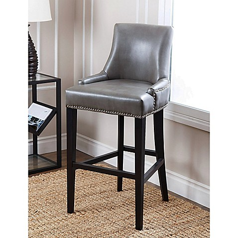 Abbyson Living 174 Newport Leather Bar Stool In Grey Bed