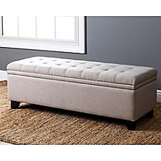 image of abbyson living frankfurt rectangular linen storage bench in wheat