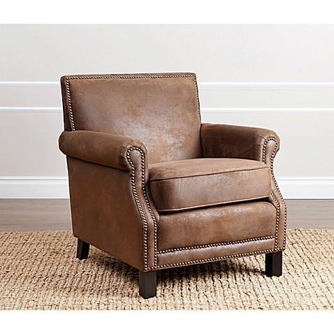 Buy Abbyson Living Chloe Arm Chair in Antique Brown Faux ...