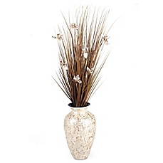 image of D&W Silks Brown Ting Orchids in Mother of Pearl Vase