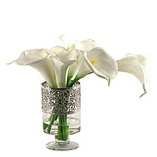 image of D&W Silks Calla Lilies in Glass/Metal Pedestal Vase