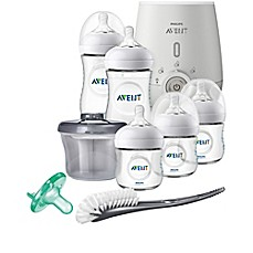 image of Philips Avent Natural 8-Piece Wide Neck Stage 1 Premium Gift Set With Bottle Warmer