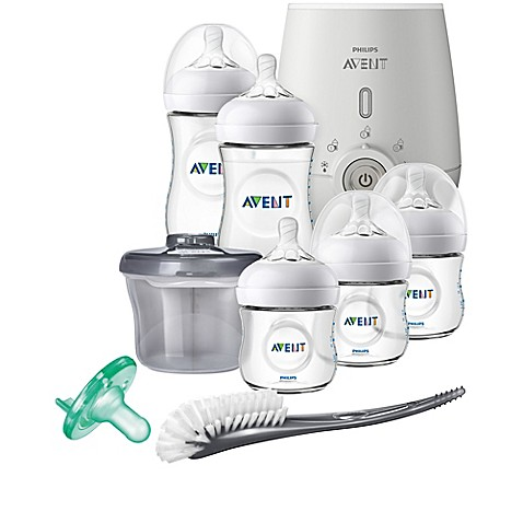 Philips Avent Natural 8 Piece Wide Neck Gift Set With Bottle Warmer