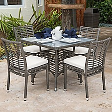 Image Of Panama Jack® Graphite 5 Piece Outdoor Dining Set In Grey