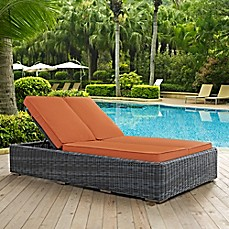 image of modway summon outdoor wicker double chaise lounge in sunbrella canvas