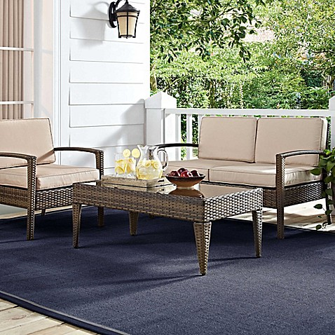 Superb Crosley Lauderdale 4 Piece All Weather Wicker Conversation Set In Sand