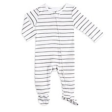 image of aden® by aden + anais® Zip-Front Stripe Footie in Grey/White