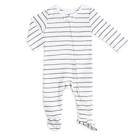 aden® by aden + anais® Size 6-9M Zip-Front Stripe Footie in Grey/White