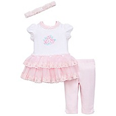 image of Little Me® 3-Piece Ruffled Dress, Legging and Headband Set in Pink/White