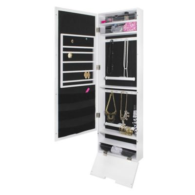 Door Solutions Mirror Jewelry and Accessory Organizer in White