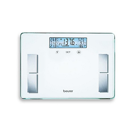image of beurer glass body analysis bathroom scale in white