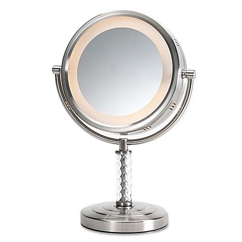 Jerdon 174 1x 6x Led Swivel Tabletop Vanity Mirror In Nickel