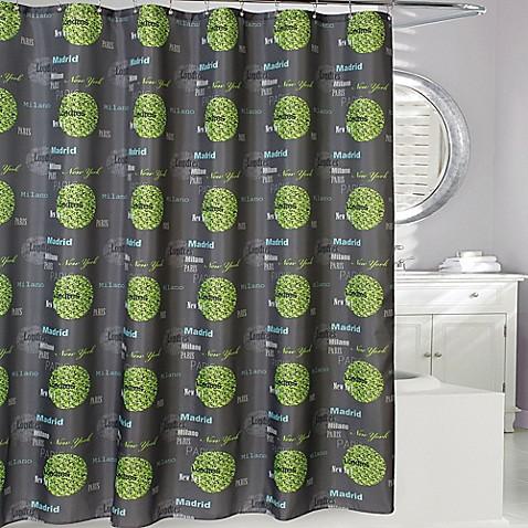 Cosmopolitan Cities Shower Curtain In Grey Green Bed Bath Beyond