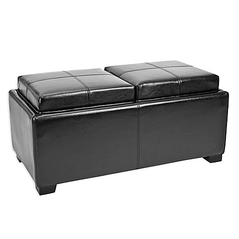 Buy safavieh double tray ottoman in black from bed bath for Double storage ottoman bench