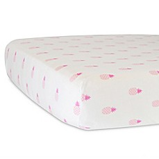 image of Hello Spud Organic Cotton Jersey Pineapples Fitted Crib Sheet in Pink
