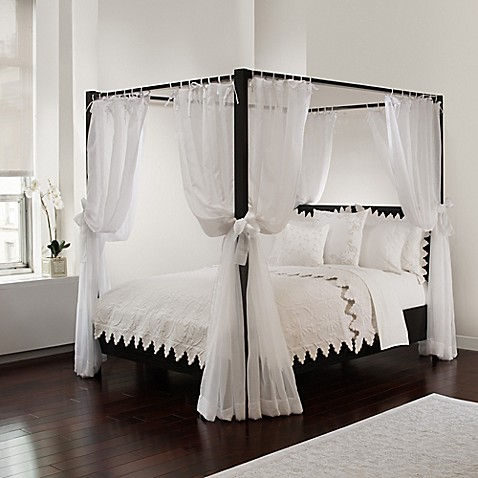 sheer bed canopy curtains in white bed bath beyond