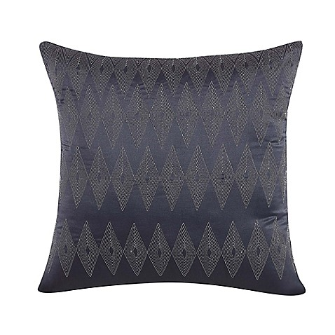 Throw Pillows Charcoal : Buy Nikki Chu Diamond Square Throw Pillow in Charcoal from Bed Bath & Beyond