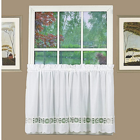 Buy Caylee 36 Inch Kitchen Window Curtain Tier Pair In White From Bed Bath Beyond