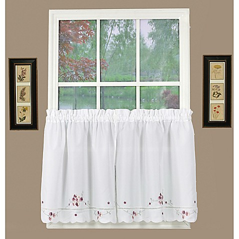 Buy christine 36 inch kitchen window curtain tier pair in white rose from bed bath beyond for 36 inch bathroom window curtains