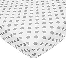 image of American Baby Company® Polka Dot Cotton Fitted Crib Sheet in Grey/White
