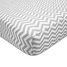 image of American Baby Company® ZigZag Print Cotton Fitted Crib Sheet in Grey/White