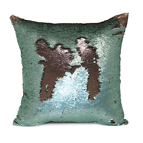 Buy Mermaid Sequin Throw Pillow in Green/Rose Gold from Bed Bath & Beyond