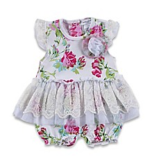 image of Laura Ashley® Pima Cotton Floral Romper with Tutu Skirt in White/Pink