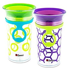 image of Sassy® 2-Pack 9 oz. Grow Up Cup™ in Green/Purple