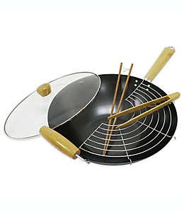 Set de wok antiadherente con tapa de vidrio de 35.56 cm, 5 piezas