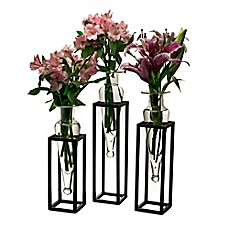 image of Danya B. Amphora 16-Inch Square Vases with Metal Stands (Set of 3)