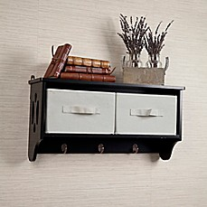 image of danya b storage wall shelf with canvas bins and hooks - Decorative Wall Shelves