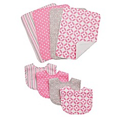 image of Trend Lab® 8-Piece Lilly Bib and Burp Cloth Set in Pink