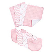 image of Trend Lab® 8-Piece Pink Sky Bib and Burp Cloth Set