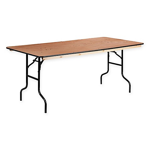 buy flash furniture 6 foot rectangular wood banquet folding table in natural from bed bath beyond. Black Bedroom Furniture Sets. Home Design Ideas