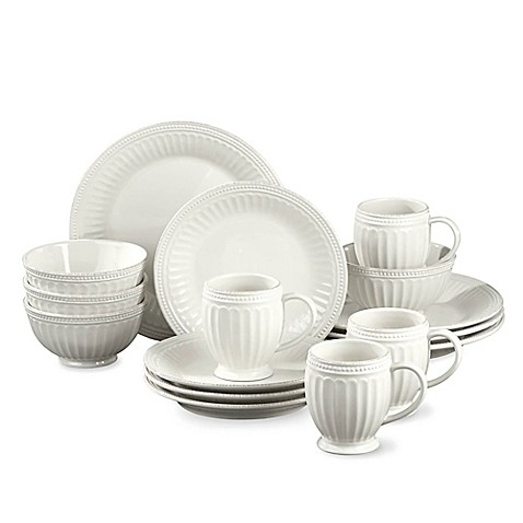 Lenox 174 French Perle Groove 16 Piece Dinnerware Set In