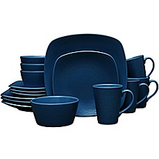 image of Noritake® Navy on Navy Swirl 16-Piece Square Dinnerware Set