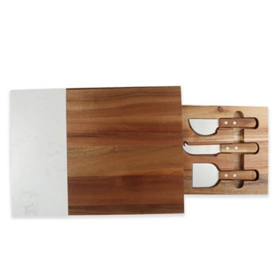 image of Artisanal Kitchen Supply® Cheese Knife Set & Marble Serving Board
