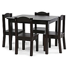 image of Tot Tutors 5-Piece Table and Chairs Set in Espresso