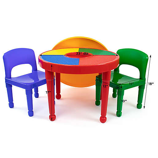 Compatible Activity Table And Chair Set, Wooden Lego Table With 3 Chairs